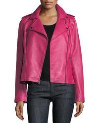 Neiman Marcus - Zip-front Leather Moto Jacket - Lyst
