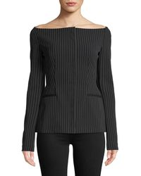 Theory Off-the-shoulder Pinstripe Jacket - Black