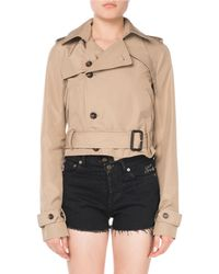 Saint Laurent - Button-front Belted Cropped Silk Trench Coat - Lyst