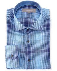 Neiman Marcus - Plaid Linen Dress Shirt - Lyst