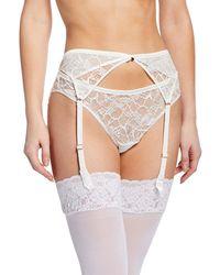 0d1f958f7 Chantelle Presage Lace Garter Belt in Black - Lyst