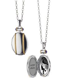 Monica Rich Kosann - Sterling Silver And 18k Yellow Gold Locket Necklace - Lyst