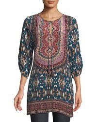 Tolani - Krisanne Tassel-neck Ruched-sleeve Batik-print Silk Tunic - Lyst