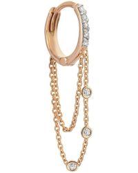 Kismet by Milka Three Diamonds Chain Single Hoop Earring - Metallic