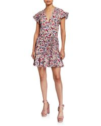 Veronica Beard Marla Ruched Floral-print Short Dress - Multicolour