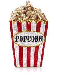 Judith Leiber Popcorn Matinee Minaudiere Clutch Bag - Red
