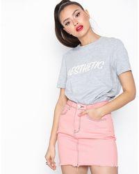 Missguided Raw Hem Contrast Stitch Denim Mini Skirt - Meerkleurig