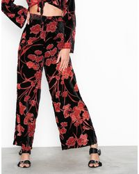 Glamorous Floral Loose Pants - Rood