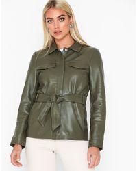 SELECTED Slfstella Utility Leather Jacket W - Groen