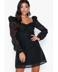 Missguided Organza Square Neck Puff Sleeved Mini Dress - Zwart