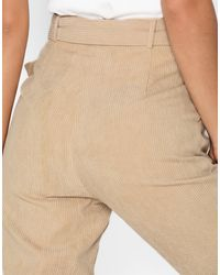 Missguided High Waisted Belted Trousers - Naturel