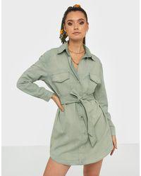 Missguided Belted Oversized Denim Dress - Groen