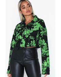 Missguided Dragon Print Denim Jacket - Groen