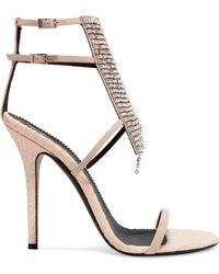 dcf6cbe0872a9e Giuseppe Zanotti - Alien Crystal-embellished Python-effect And Patent-leather  Sandals -