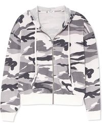 Splendid - Camouflage-print Stretch-jersey Hooded Top - Lyst