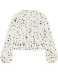 Ganni Cropped Pintucked Floral-print Crepe Blouse - White