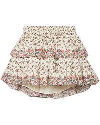 LoveShackFancy - Tiered Floral-print Cotton Mini Skirt - Lyst
