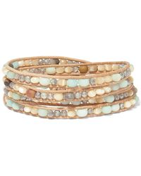 Chan Luu - Leather And Silver-tone Multi-stone Wrap Bracelet - Lyst