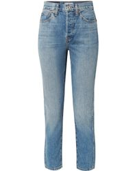 RE/DONE - Double Needle Crop High-rise Tapered Jeans - Lyst