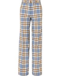 Victoria Beckham - Checked Wool And Mohair-blend Wide-leg Pants - Lyst