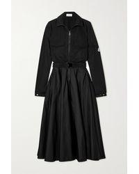 Moncler Belted Taffeta Midi Shirt Dress - Black