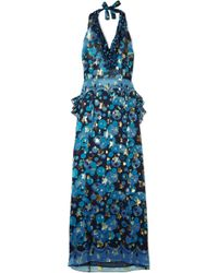 Anna Sui - Curtain Of Stars Printed Fil Coupé Silk-blend Chiffon Halterneck Dress - Lyst