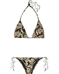 Moschino | Metallic Printed Triangle Bikini | Lyst