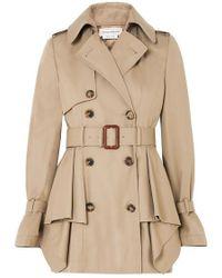 Alexander McQueen Peplum Cotton-gabardine Trench Coat - Natural