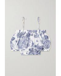 Dundas Blixen Cold-shoulder Printed Cotton-voile Top - Blue