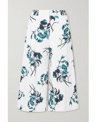 Erdem Jupe-culotte En Lin À Imprimé Fleuri Mouna - Bleu