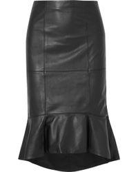 Alice + Olivia - Kina Ruffled Leather Skirt - Lyst