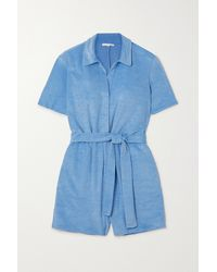 Skin Mags Belted Cotton-blend Terry Playsuit - Blue