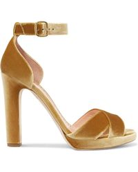 Rupert Sanderson - Meadow Metallic Velvet Platform Sandals - Lyst