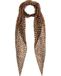 Saint Laurent - Leopard-print Wool-jersey Scarf - Lyst