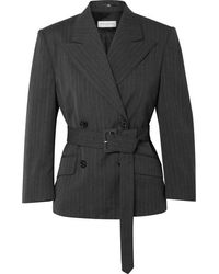 Dries Van Noten Belted Double-breasted Pinstriped Twill Blazer - Gray