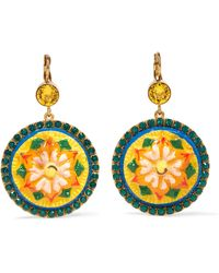 Dolce & Gabbana - Gold-plated, Acetate And Crystal Earrings - Lyst