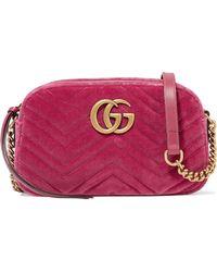 Gucci - Gg Marmont Camera Mini Leather-trimmed Quilted Velvet Shoulder Bag - Lyst