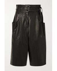 Proenza Schouler Belted Leather Shorts - Black