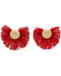 Katerina Makriyianni - Hand Fan Gold-tone Wool Earrings - Lyst