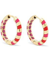 Alice Cicolini - Memphis Candy 14-karat Gold, Sapphire And Enamel Hoop Earrings - Lyst