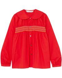 Comme des Garçons - Smocked Cotton-poplin Shirt - Lyst