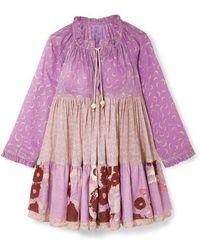 Yvonne S Paneled Printed Cotton-voile Dress - Purple