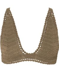 She Made Me - Lalita Crocheted Cotton Triangle Bikini Top - Lyst