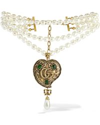 Gucci - Burnished Gold-tone, Faux Pearl And Crystal Necklace - Lyst