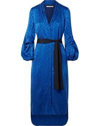 Hellessy Belted Satin-jacquard Dress Cobalt Blue