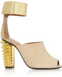 Fendi - Metallic Leather And Suede Sandals - Lyst
