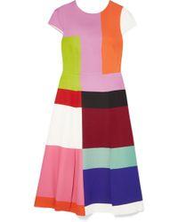 Mary Katrantzou - Osmond Color-block Satin Midi Dress - Lyst