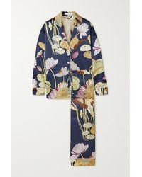 Olivia Von Halle Lila Floral-print Silk-satin Pyjama Set - Blue