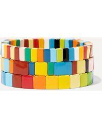 Roxanne Assoulin Set De Trois Bracelets En Émail Rainbow Brite - Bleu