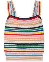 J.Crew Striped Stretch-knit Top - Multicolour